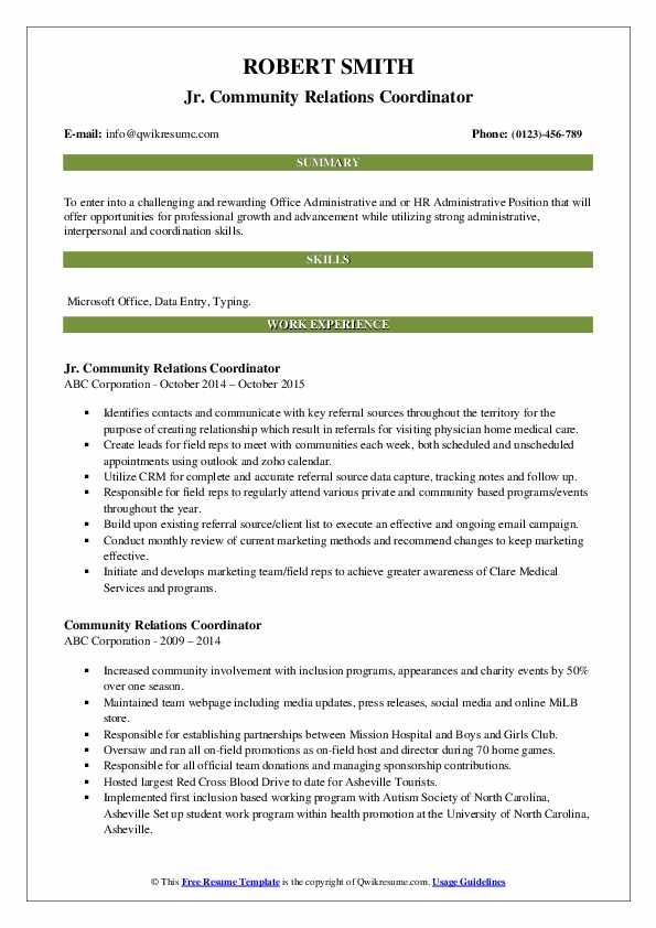 Jr. Community Relations Coordinator Resume Format