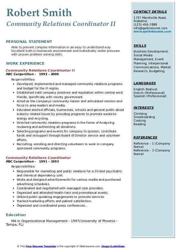 Community Relations Coordinator II Resume Model