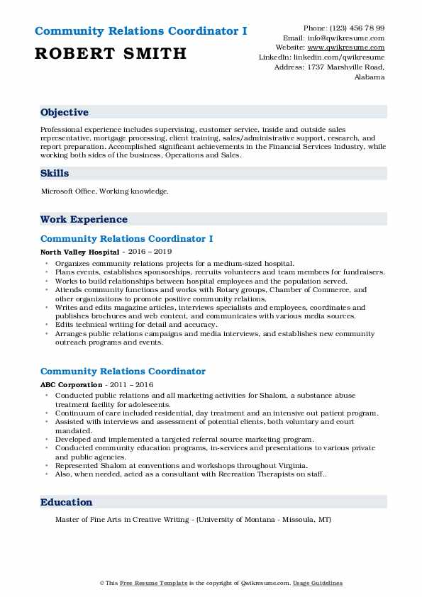 Community Relations Coordinator I Resume Example
