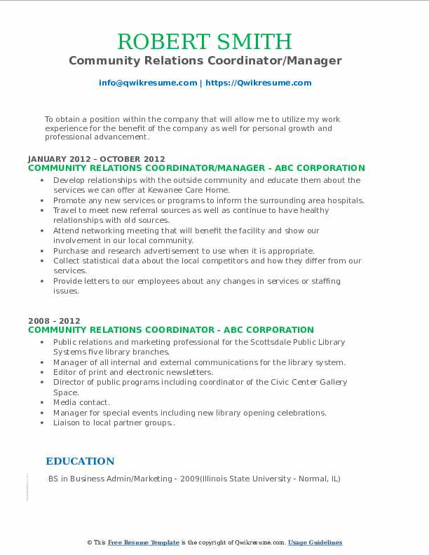 Community Relations Coordinator/Manager Resume Template
