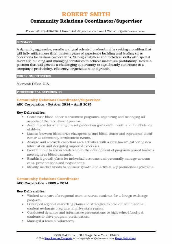 Community Relations Coordinator/Supervisor Resume Format