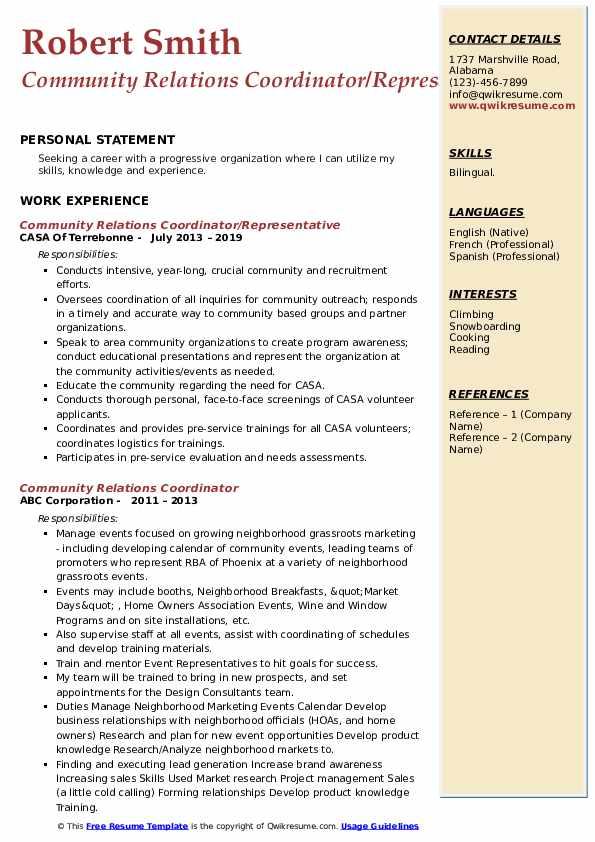 community relations coordinator resume samples