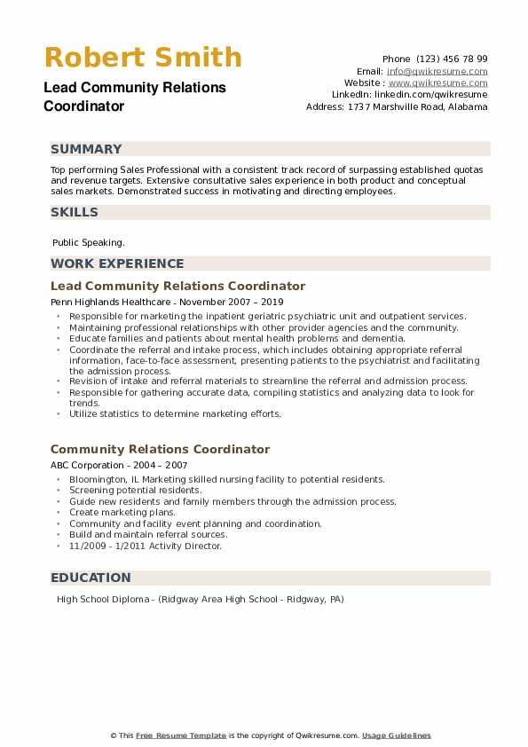 Lead Community Relations Coordinator Resume Format