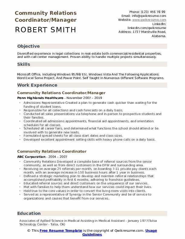 Community Relations Coordinator/Manager Resume Sample
