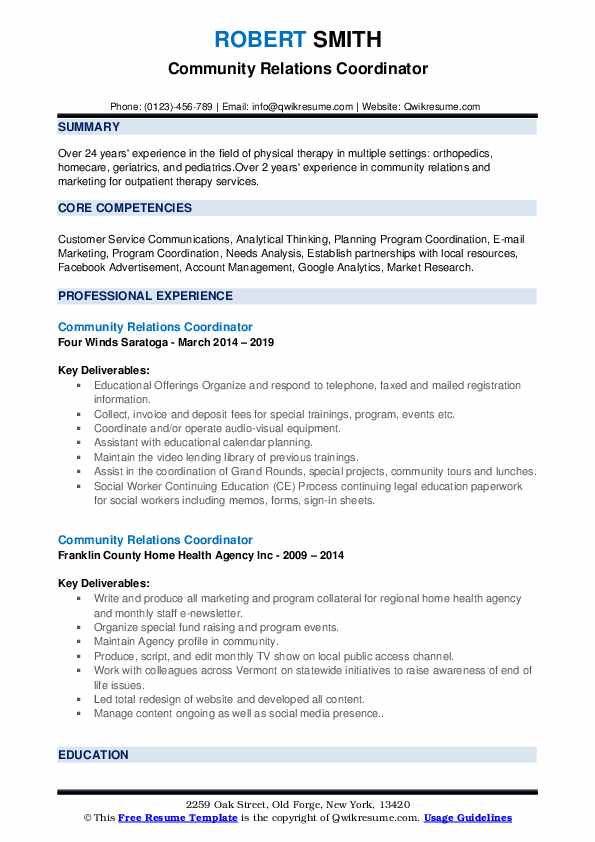 Community Relations Coordinator Resume example