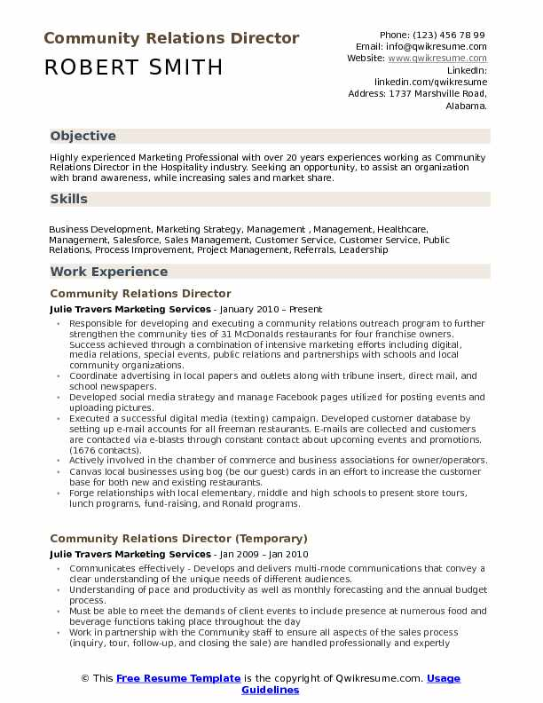 community relations director resume samples