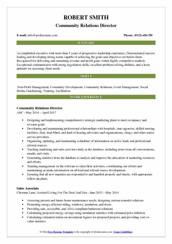Community Relations Director Resume Example