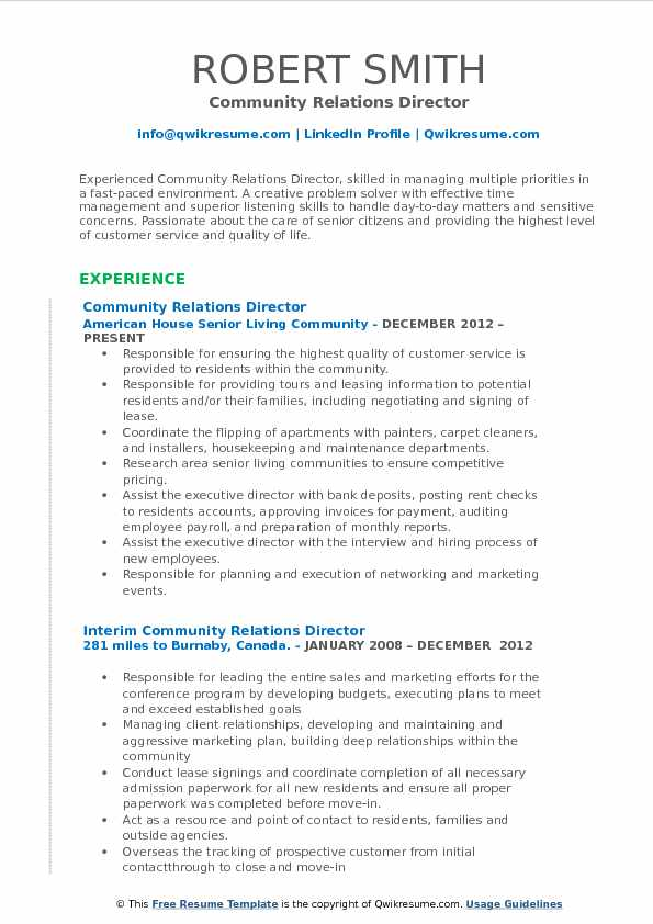 Community Relations Director Resume Sample