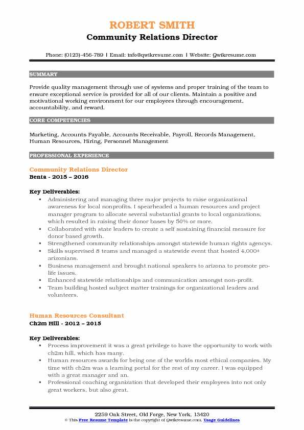 Community Relations Director Resume Format