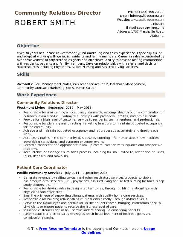 Community Relations Director  Resume Model