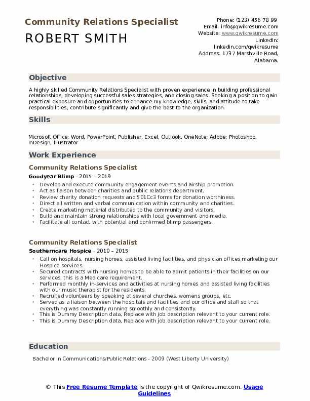 Community Relations Specialist Resume example