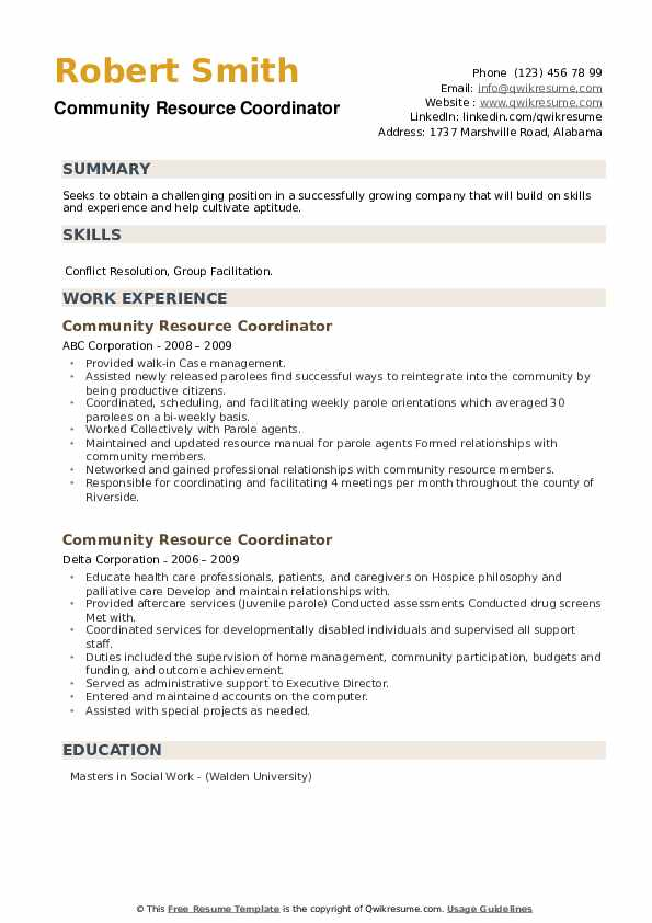 Community Resource Coordinator Resume example