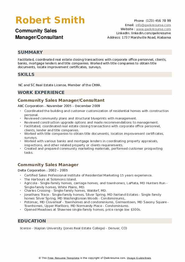 Community Sales Manager Resume example