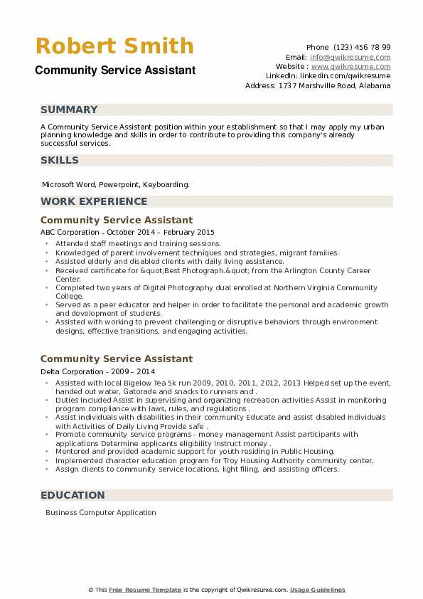 Community Service Assistant Resume example