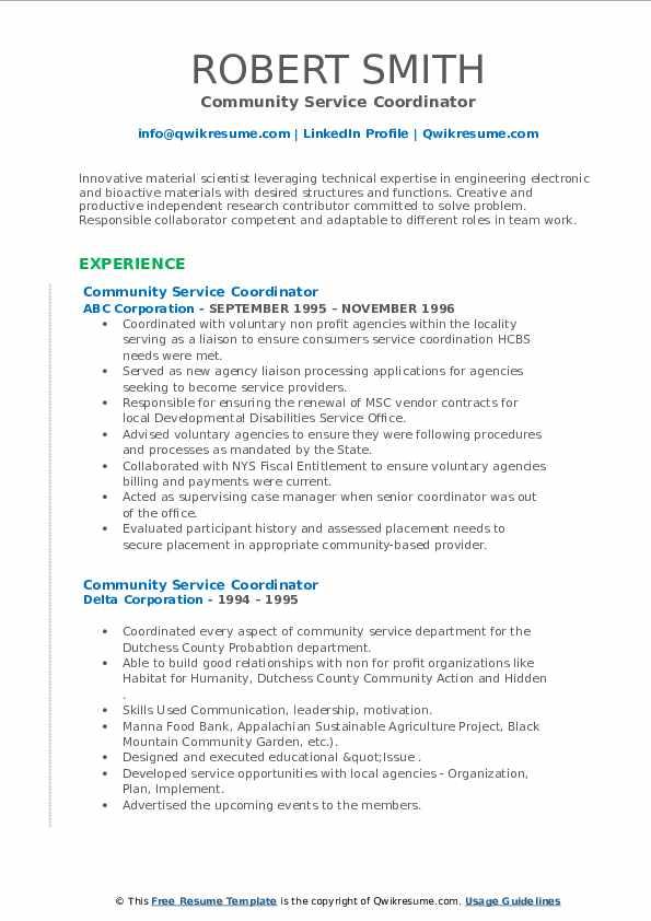 Community Service Coordinator Resume example
