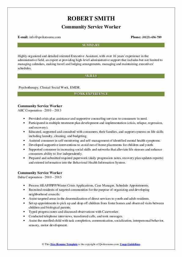 how to write a resume for community service
