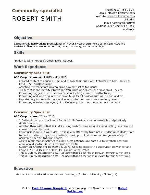 Community Specialist Resume example