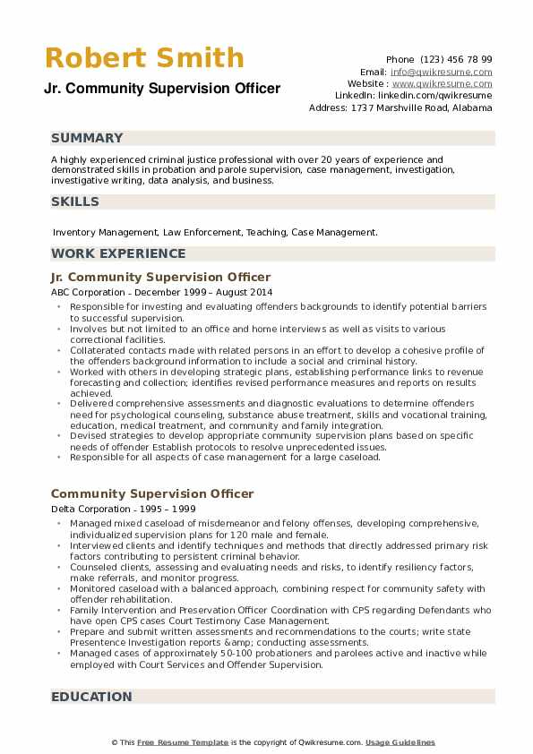 Community Supervision Officer Resume example