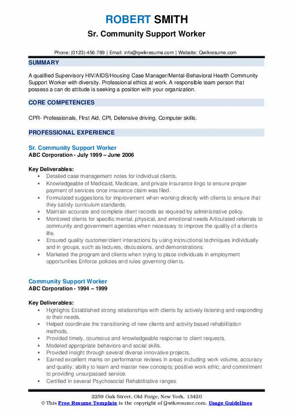 Sr. Community Support Worker Resume Template