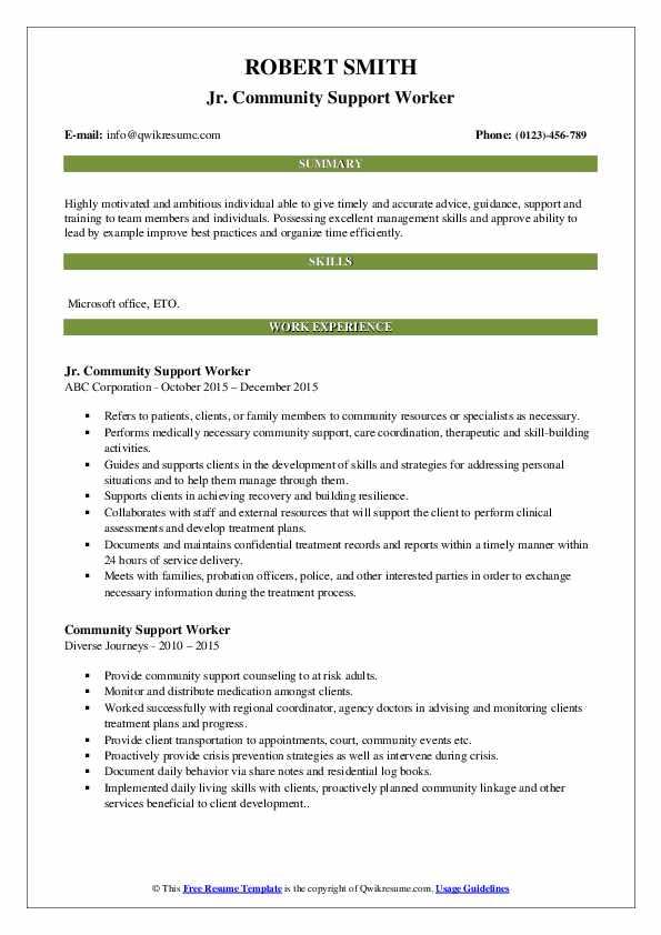 Jr. Community Support Worker Resume Sample