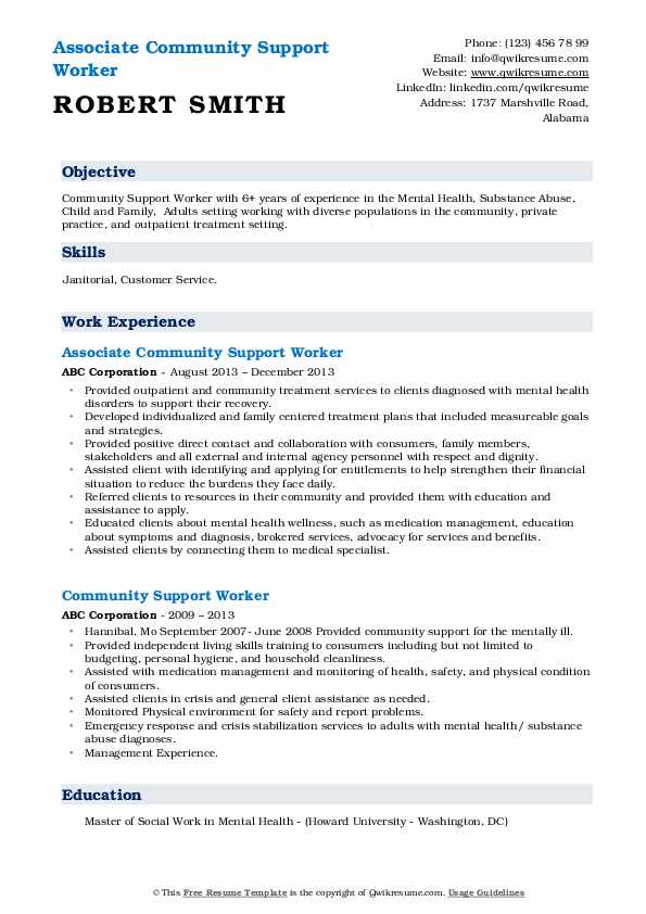 Associate Community Support Worker Resume Example