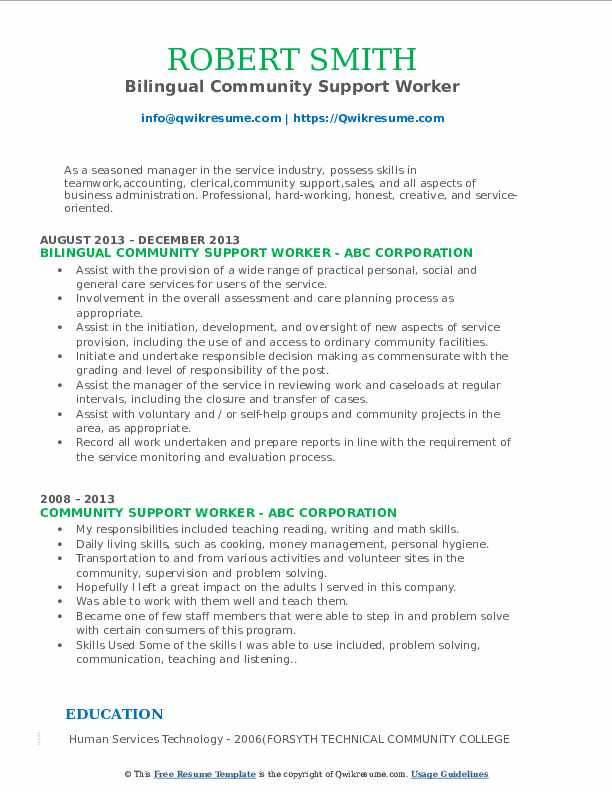 Community Support Worker Resume Samples Qwikresume