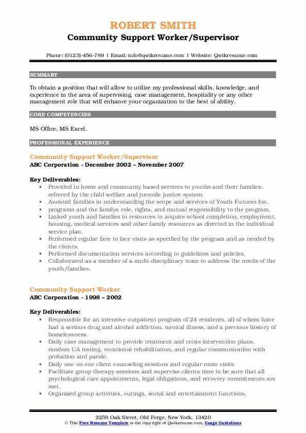 Community Support Worker/Supervisor Resume Sample