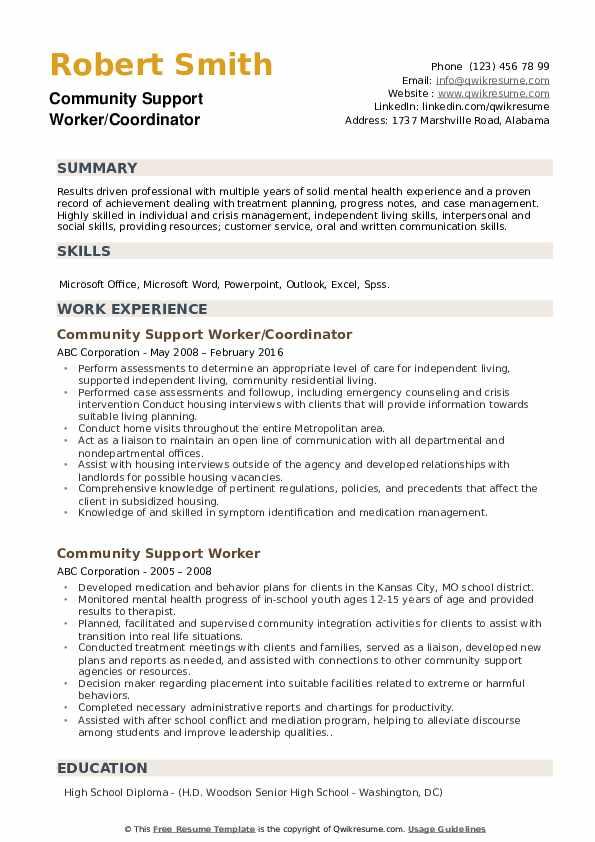 Community Support Worker/Coordinator Resume Sample