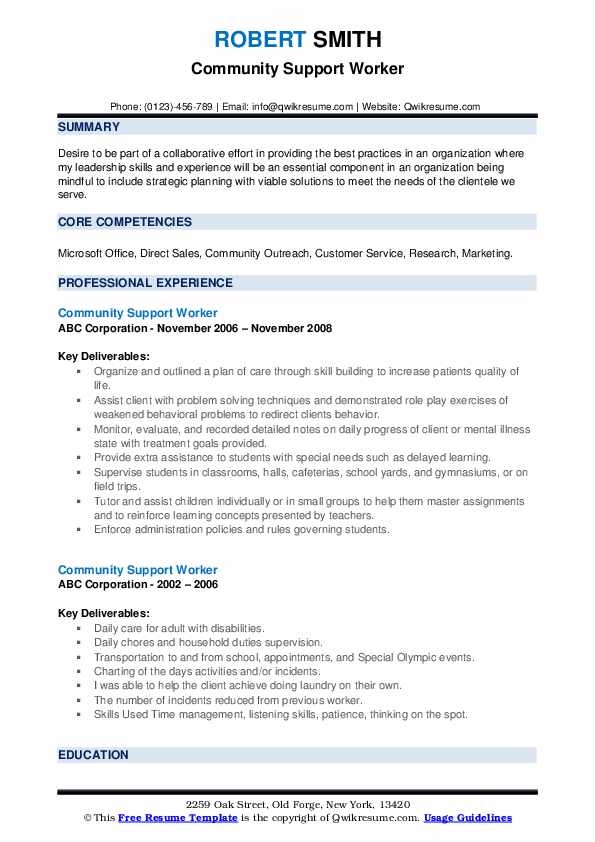 Community Support Worker Resume example