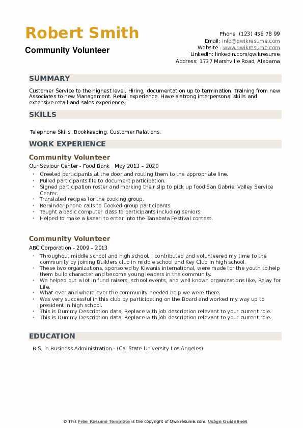 Community Volunteer Resume example