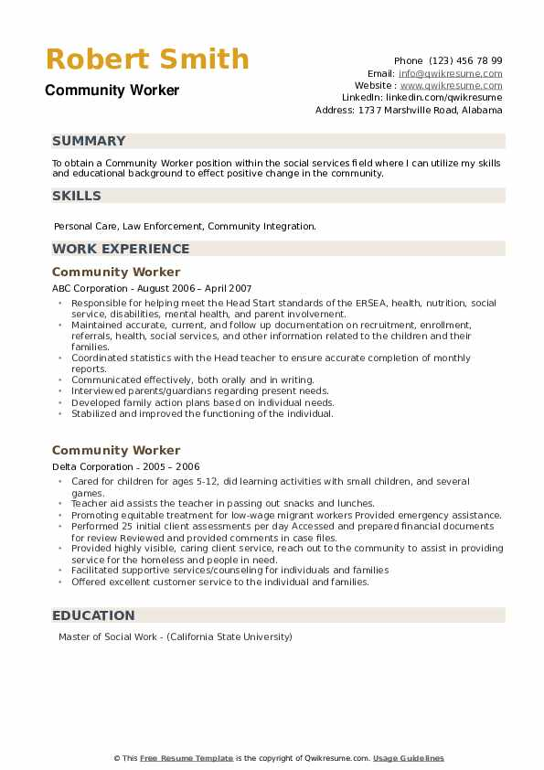 Community Worker Resume example