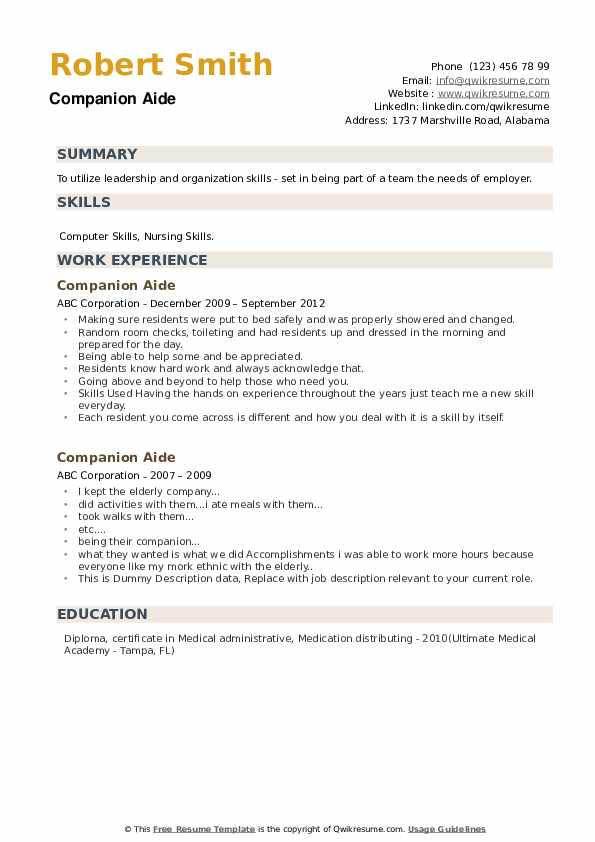 Companion Aide Resume example