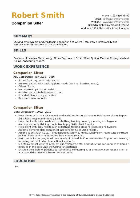 Companion Sitter Resume example
