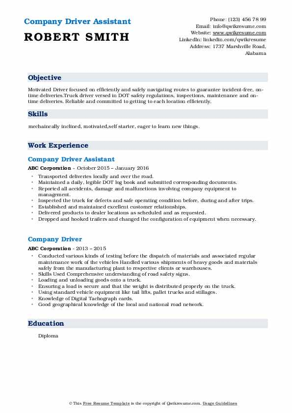 Company Driver Assistant  Resume Format