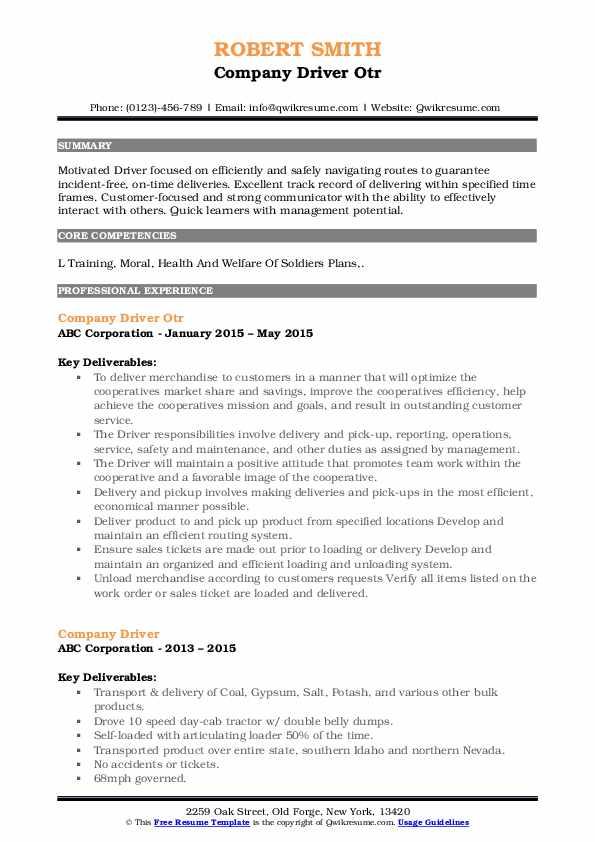 Company Driver Otr Resume Example