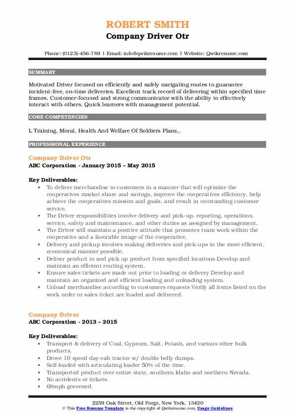 company driver resume samples