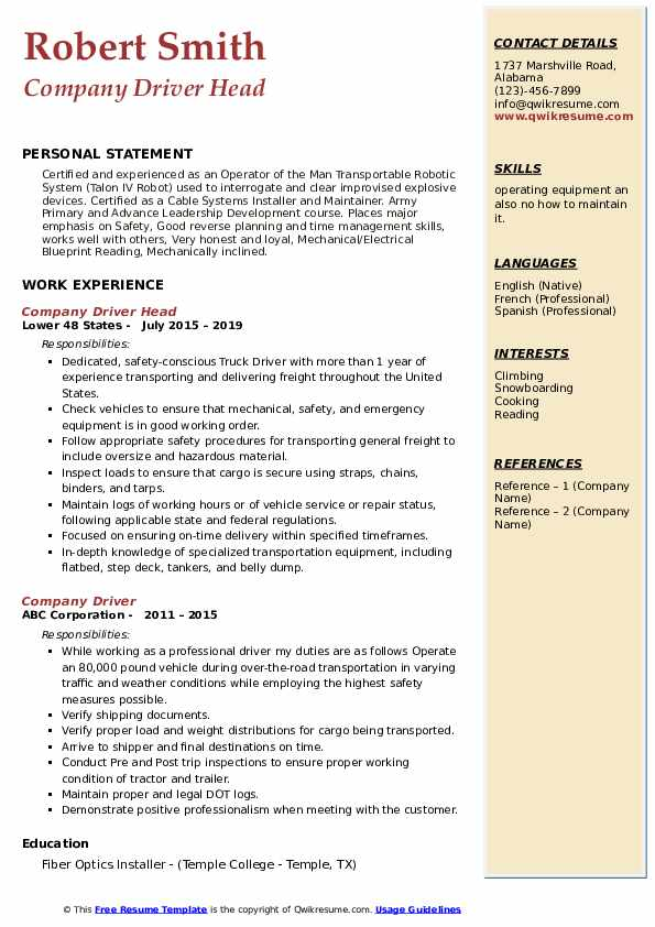 Company Driver Head Resume Sample