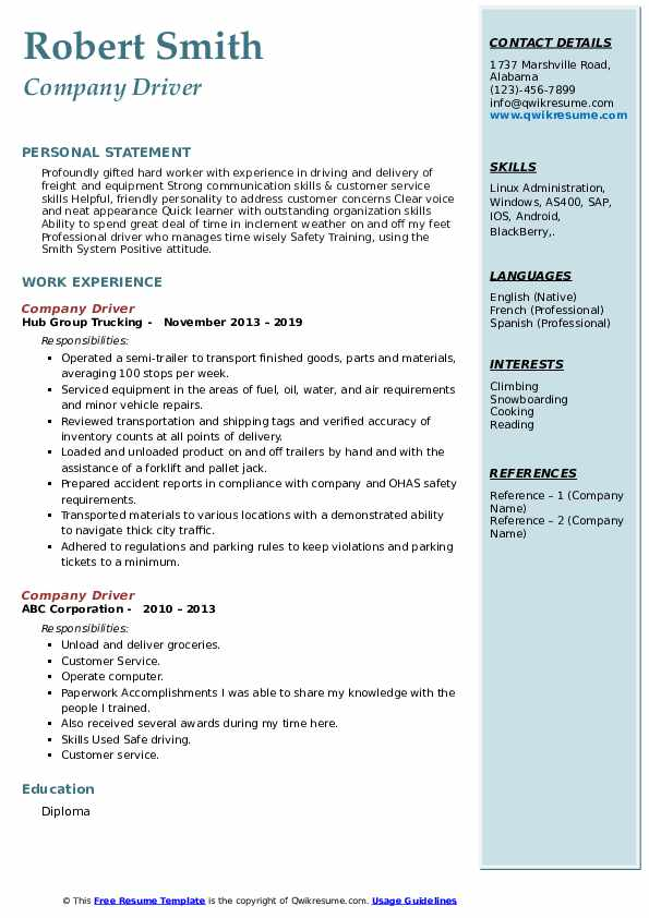 Company Driver Resume Samples Qwikresume