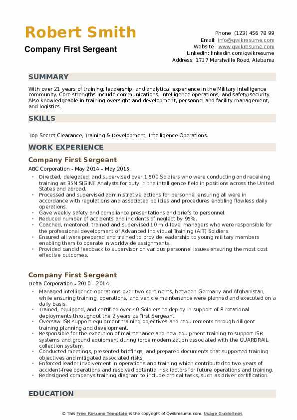 Company First Sergeant Resume example