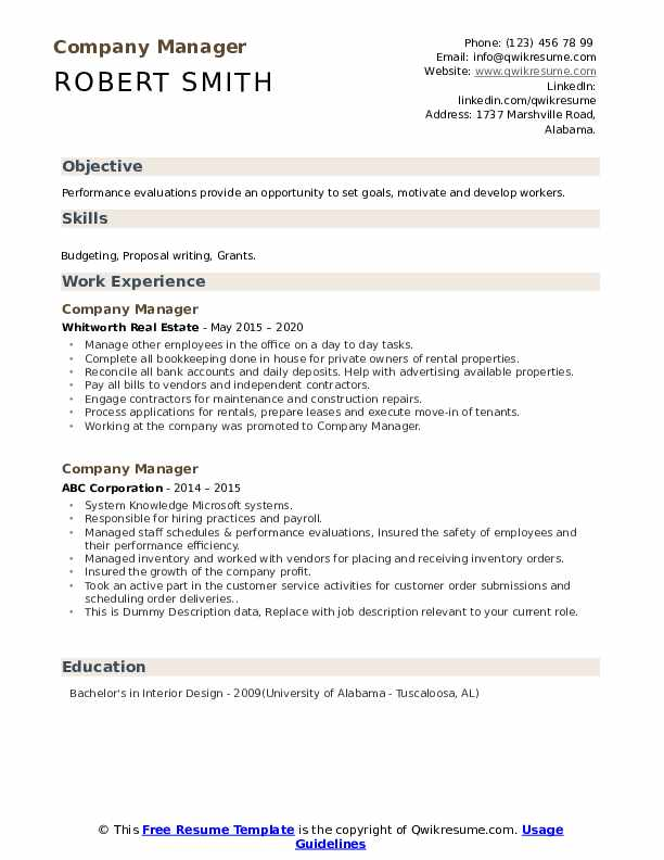 Company Manager Resume example