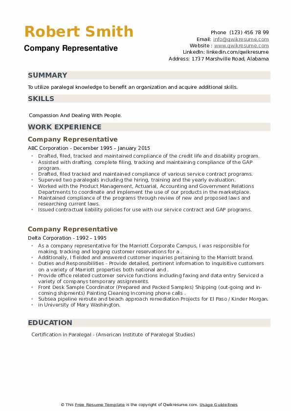 Company Representative Resume example