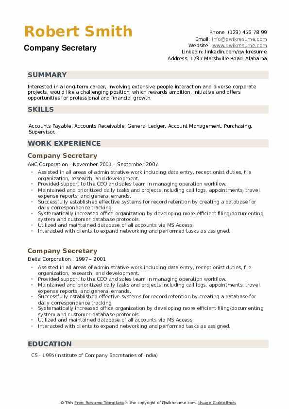Company Secretary Resume example