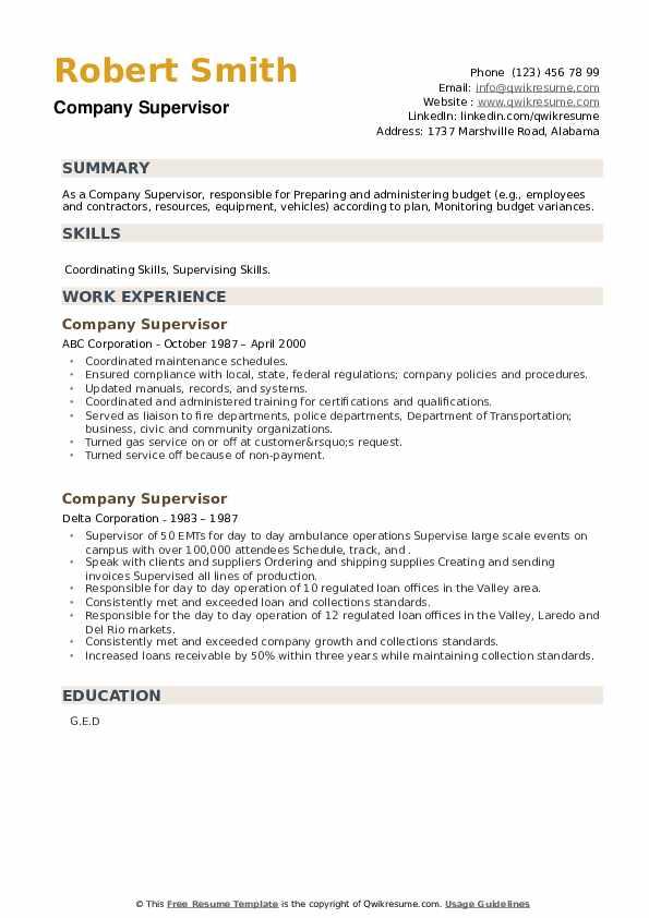 Company Supervisor Resume example
