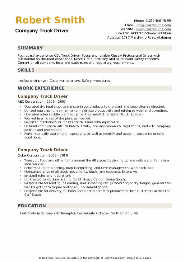 Company Truck Driver Resume example