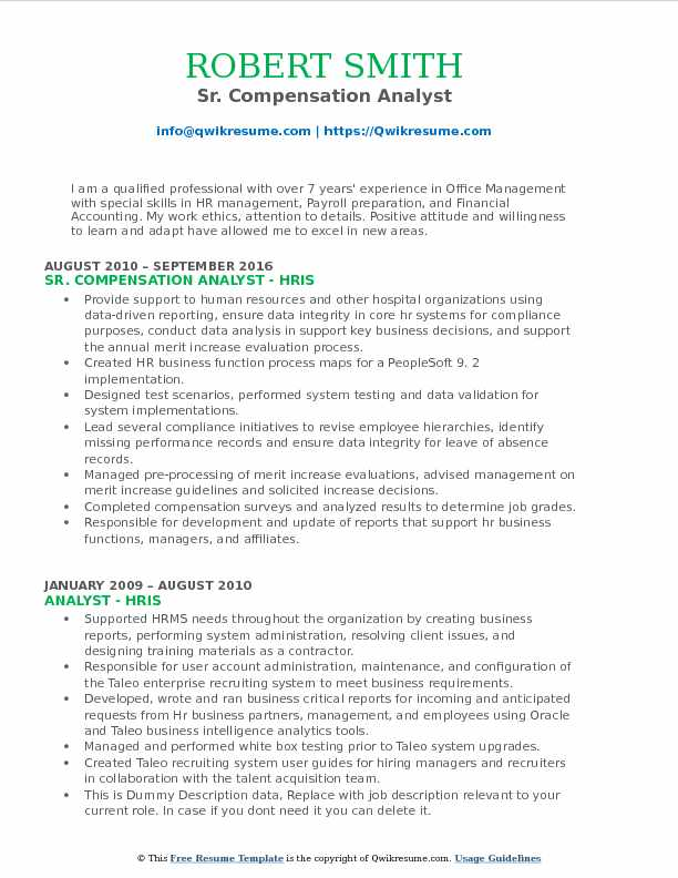 Compensation Analyst Resume Samples | QwikResume