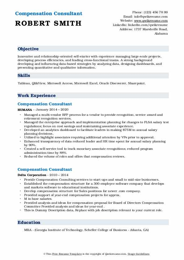 Compensation Consultant Resume example