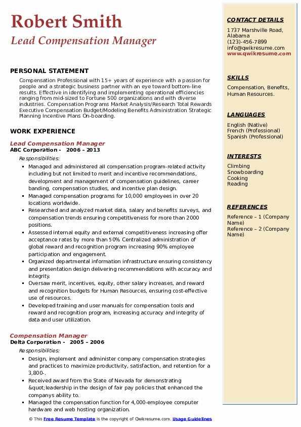 compensation manager resume samples  qwikresume