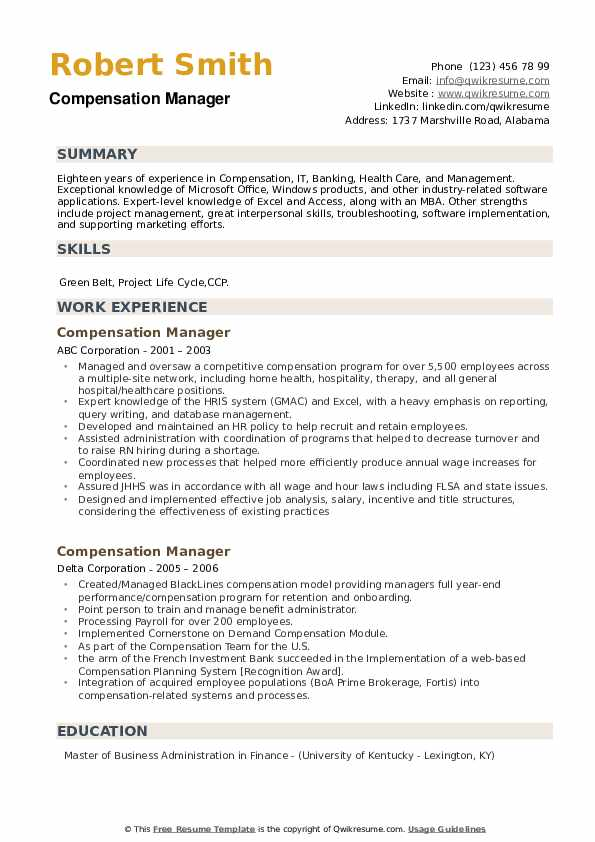 Compensation Manager Resume example