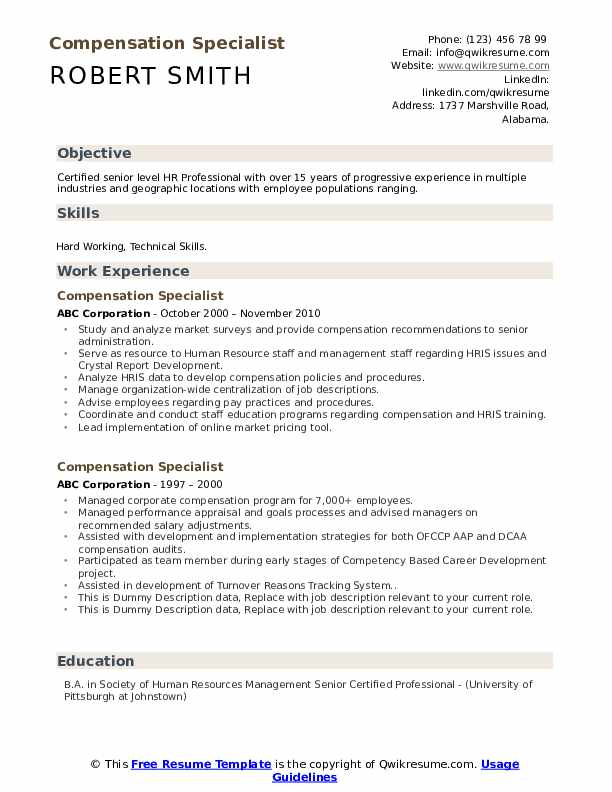 Compensation Specialist Resume example
