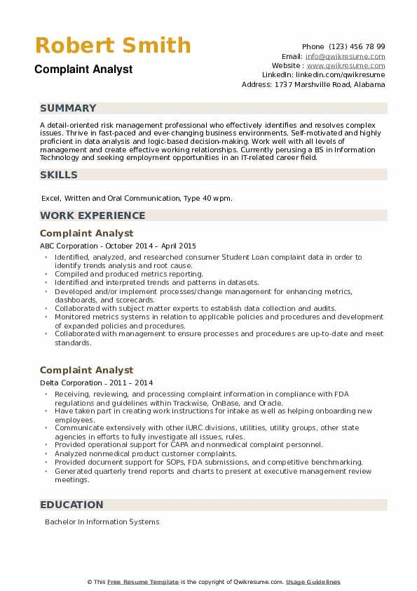 Complaint Analyst Resume example